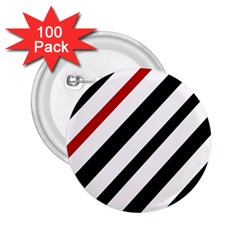 Red, black and white lines 2.25  Buttons (100 pack)