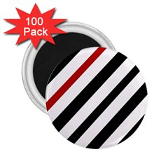 Red, black and white lines 2.25  Magnets (100 pack)