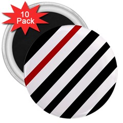 Red, black and white lines 3  Magnets (10 pack)