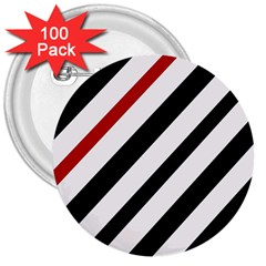 Red, black and white lines 3  Buttons (100 pack)