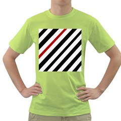 Red, black and white lines Green T-Shirt