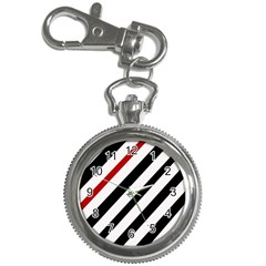 Red, black and white lines Key Chain Watches