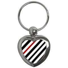 Red, black and white lines Key Chains (Heart)