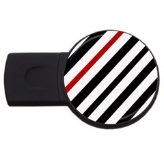 Red, black and white lines USB Flash Drive Round (1 GB)