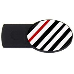 Red, black and white lines USB Flash Drive Oval (1 GB)