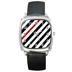 Red, black and white lines Square Metal Watch