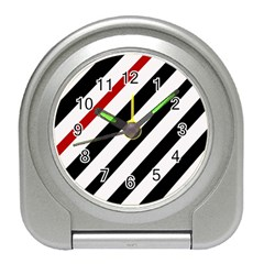 Red, black and white lines Travel Alarm Clocks