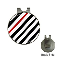 Red, black and white lines Hat Clips with Golf Markers