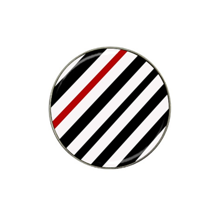 Red, black and white lines Hat Clip Ball Marker (4 pack)