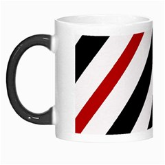 Red, black and white lines Morph Mugs