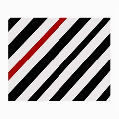 Red, black and white lines Small Glasses Cloth