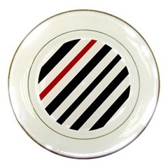 Red, black and white lines Porcelain Plates