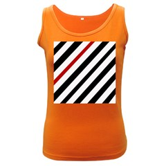 Red, black and white lines Women s Dark Tank Top