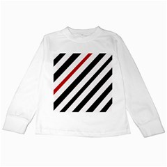Red, black and white lines Kids Long Sleeve T-Shirts