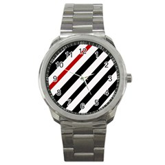 Red, black and white lines Sport Metal Watch