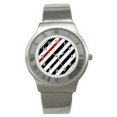 Red, black and white lines Stainless Steel Watch
