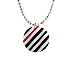 Red, black and white lines Button Necklaces