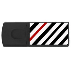 Red, black and white lines USB Flash Drive Rectangular (4 GB)