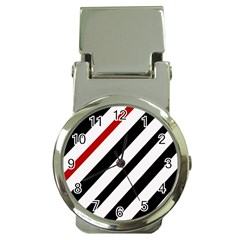 Red, black and white lines Money Clip Watches