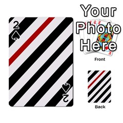 Red, black and white lines Playing Cards 54 Designs