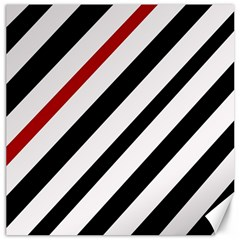 Red, black and white lines Canvas 12  x 12
