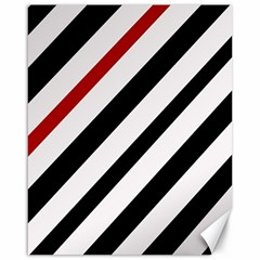 Red, black and white lines Canvas 16  x 20