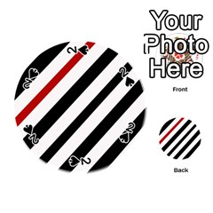 Red, black and white lines Playing Cards 54 (Round)