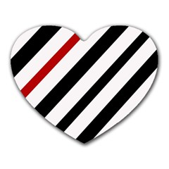 Red, black and white lines Heart Mousepads