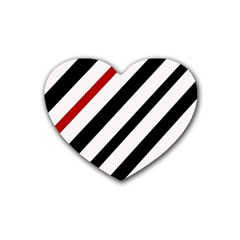 Red, black and white lines Heart Coaster (4 pack)