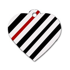 Red, black and white lines Dog Tag Heart (One Side)
