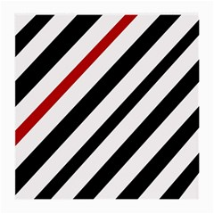 Red, black and white lines Medium Glasses Cloth (2-Side)