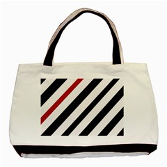 Red, black and white lines Basic Tote Bag (Two Sides)