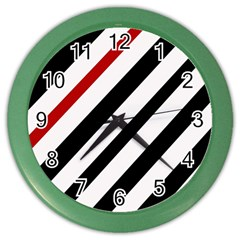 Red, black and white lines Color Wall Clocks