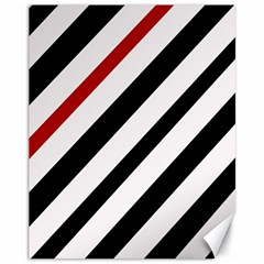 Red, black and white lines Canvas 11  x 14