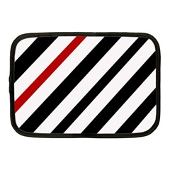 Red, black and white lines Netbook Case (Medium)