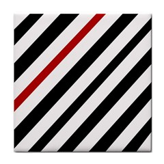 Red, black and white lines Face Towel