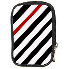 Red, black and white lines Compact Camera Cases