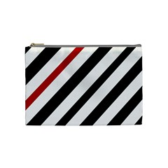 Red, black and white lines Cosmetic Bag (Medium)