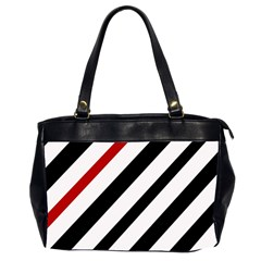 Red, black and white lines Office Handbags (2 Sides)