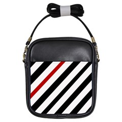 Red, black and white lines Girls Sling Bags