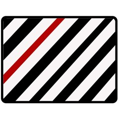 Red, black and white lines Fleece Blanket (Large)