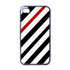 Red, black and white lines Apple iPhone 4 Case (Black)