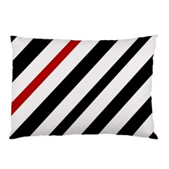 Red, black and white lines Pillow Case (Two Sides)