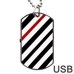 Red, black and white lines Dog Tag USB Flash (One Side)
