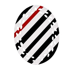 Red, black and white lines Oval Filigree Ornament (2-Side)