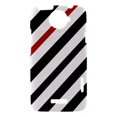 Red, black and white lines HTC One X Hardshell Case