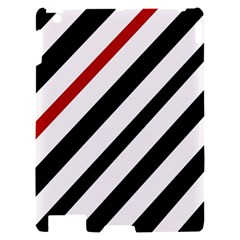 Red, black and white lines Apple iPad 2 Hardshell Case