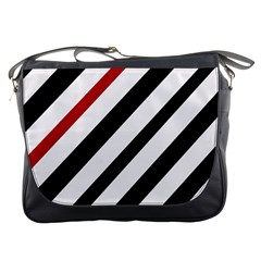 Red, black and white lines Messenger Bags