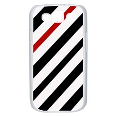 Red, black and white lines Samsung Galaxy S III Case (White)