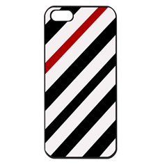 Red, black and white lines Apple iPhone 5 Seamless Case (Black)